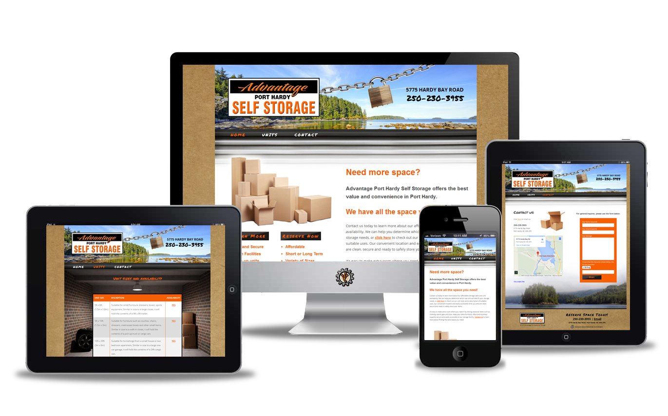 Website design for Advantage Self Storage in Port Hardy
