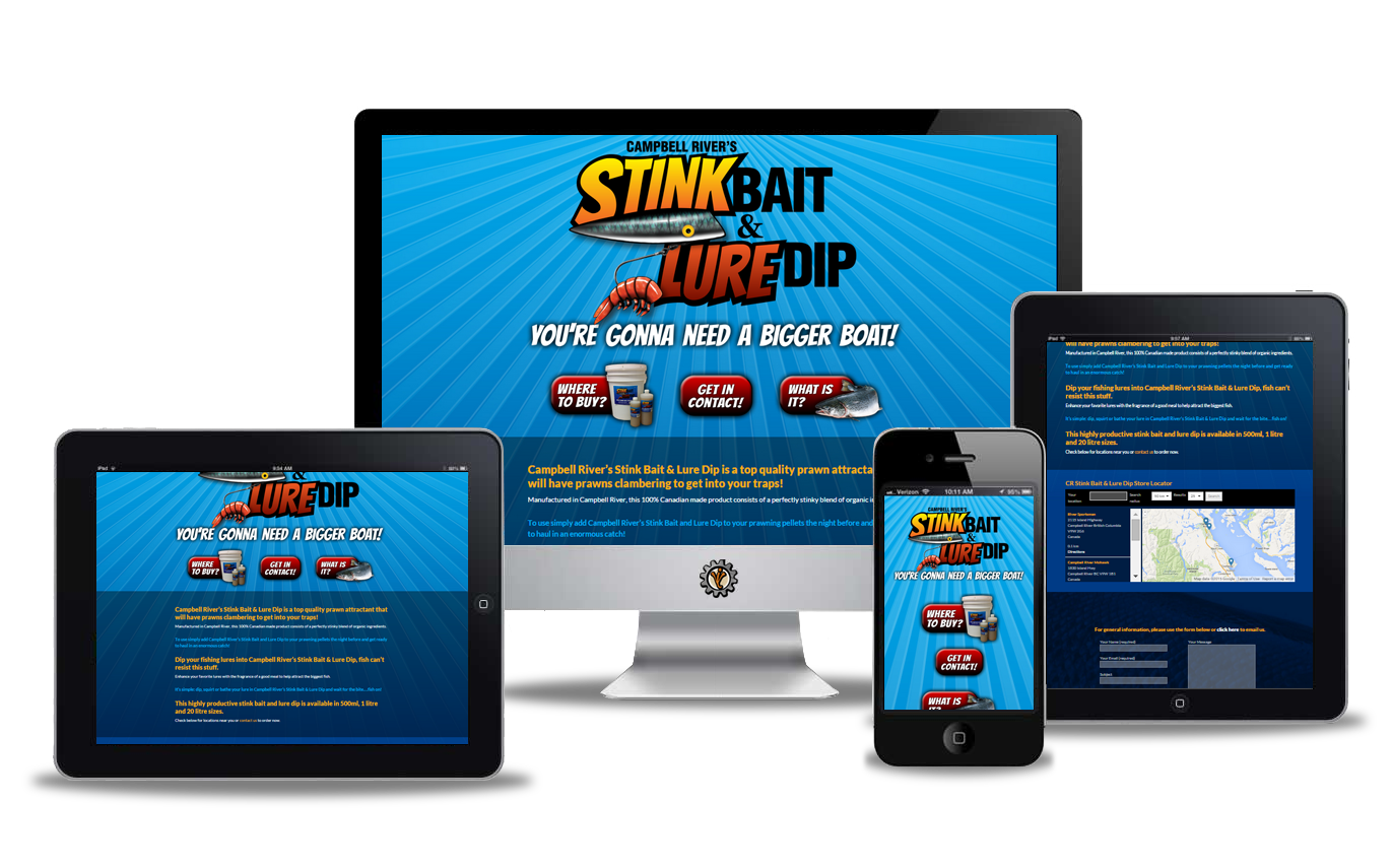 Website design for Campbell River Stink Bait & Lure Dip