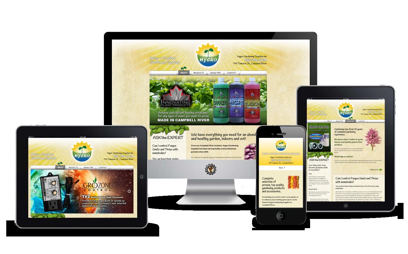 Hygro Gardening website design by Vancouver Island Designs