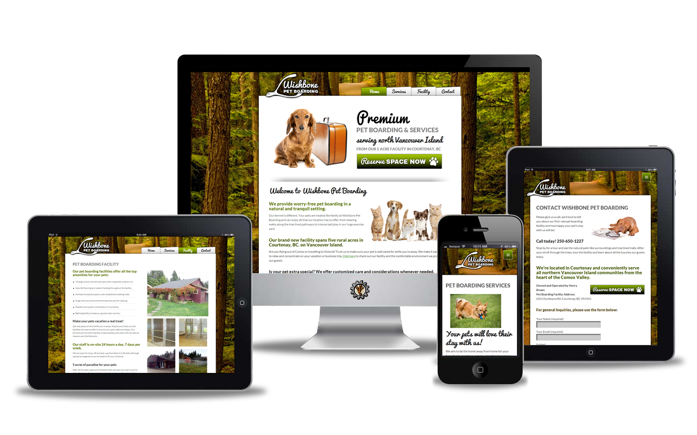 Wishbone Pet Boarding website design by Vancouver Island Designs