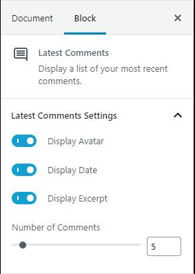 Latest Comments Block Settings