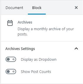 Post Archives Block Settings