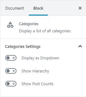 Post Category Block Settings
