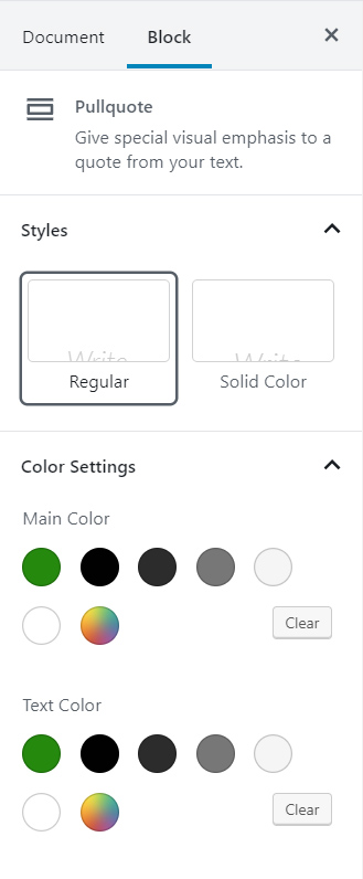 Pullquote Block Formatting Palette