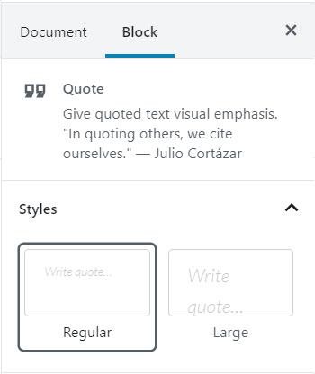 Quote Block Settings