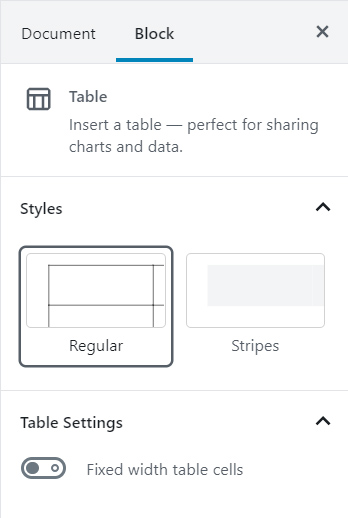 Table Block Formatting palette