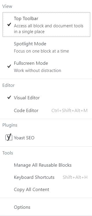 tools and options menu