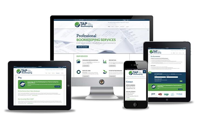 tap bookkeeping website design